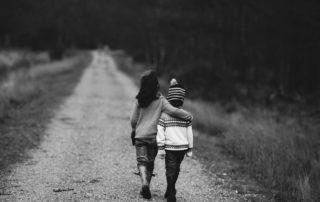 Children walking on a path